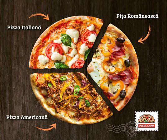 Over 50 types of American, Italian and Romanian pizza