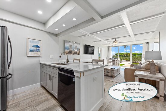 Condo 408 at Island Beach Resort has ocean views and the property has an onsite restaurant called Shuckers