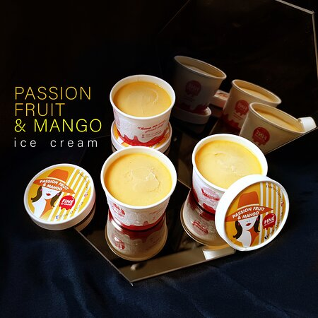 Passion Fruit & Mango ice cream. Dairy-Free for Friday.  We have delivery service and special promotion on September 2021 to deliver your favorite menu to your door. Please add LINE ID : @fineofcourse Food Delivery : LINE MAN , Foodpanda , Robinhood