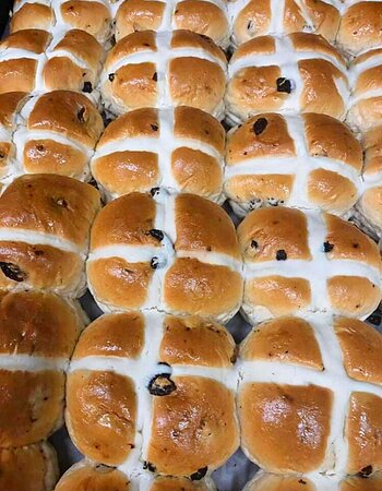 Hot Cross Buns! Sold all year round.