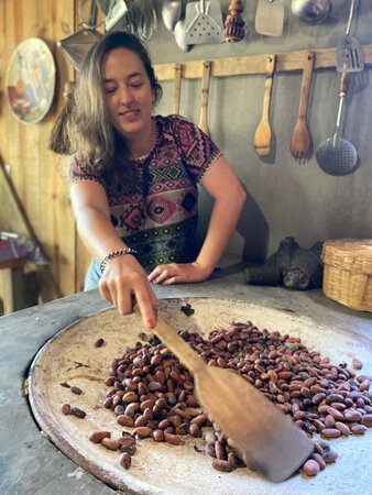 rasting cacao beans for chocolate