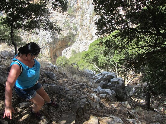 the steep and rocky trail dictates being careful, but what a view