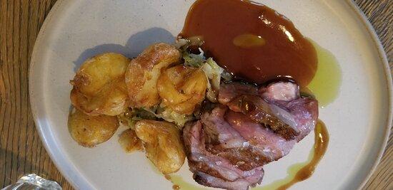 Lamb sirloin, cabbage, potatoes, lamb demi-glace