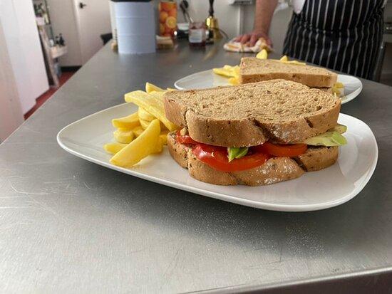 Avocado and tomato sandwich