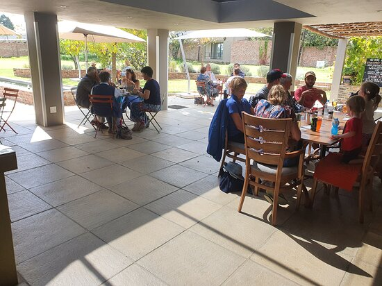Enjoy lunch on the covered terrace at Thyme Out in Wakkerstroom.