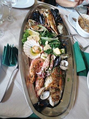 Bandeja grande de pescado y marisco Bakus: 380 kunas