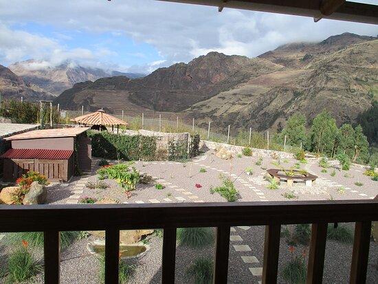 Pisac, Peru: View over Casa de Oren Gardens from room Balcony