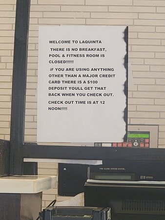 Sign at the front desk