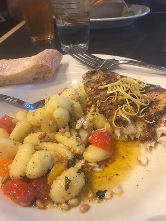 Sea bass with Gnocci accompanied by a drink named Basil instinct. What a fun food and drink menu. Lovely server (don't have her name because I opted not to get a receipt).  It was a little loud inside but the noise died down quickly after happy hours guests moved on.