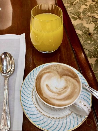 Juice and cappuccino