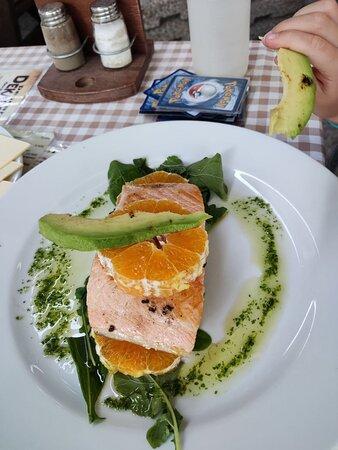 salmon with orange and avocado