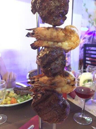 My favourite - fillet steak and prawn hanging kebab!