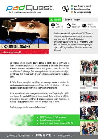 """Fiche technique """"l'espion de l'abwehr"""" dans le centre ville de Caen adaptés aux ados/adultes"""