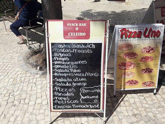 Ferreiras, Portekiz: Ementa. Refeições ligeiras.