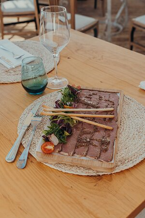 Pastrami Antipasti with Salad & Nuts, Grain Mustard Vinaigrette