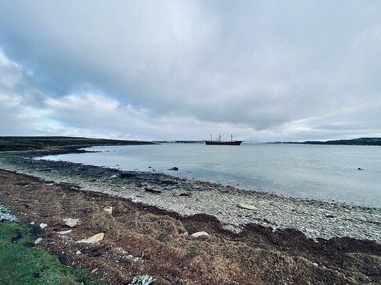 סטנלי, איי פוקלנד: The Lady Elizabeth Shipwreck (in the distance) in Whalebone Cove, Stanley Harbour.