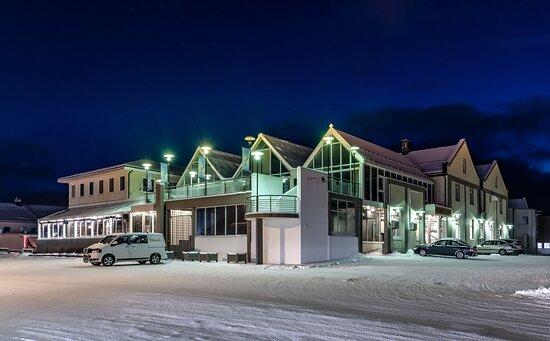 Melbu, Norway: Utvendig, vinterstemning.