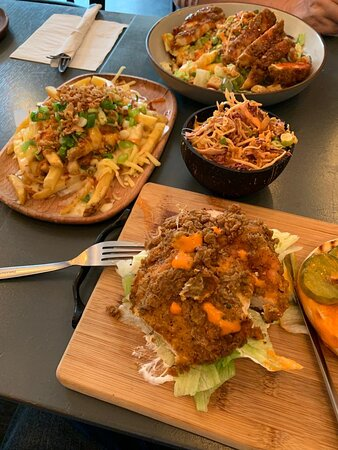 Fillet on salad, buffalo burger with spicy slaw and loaded fries.