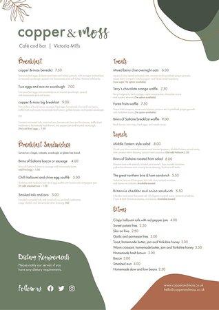Breakfast brunch lunch menu