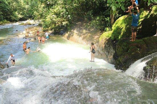 Full Day Waterfall Adventure: Christine jumping