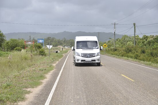 Traveling on the access road to Hopkins, Belize
