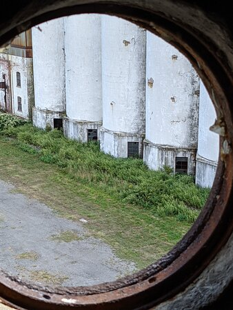 View of Silo City from inside the Perot silo - taken through a porthole style window