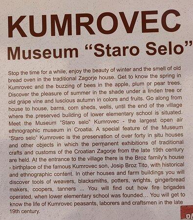 Kumrovec, Croatia: Open Air museum description.
