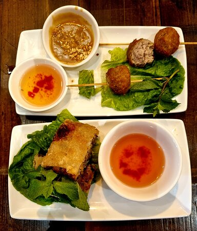 Pork balls with dips and seafood spring rolls.  Delicious!