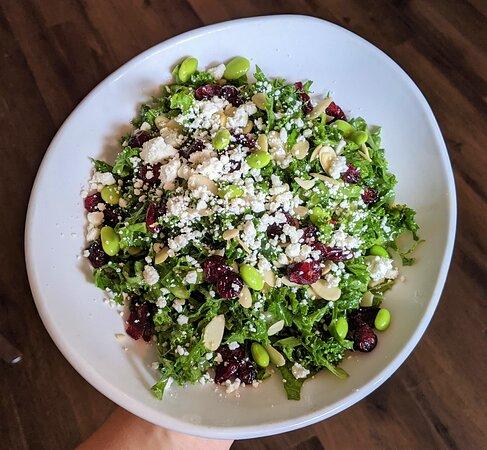 Kale Salad - dried cranberries, edamame, goat cheese, almonds, lemon shallot vinaigrette