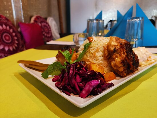"""""""Mazaj Restaurant, Arabic Food Chicken leg and potatoes and rice with soup"""