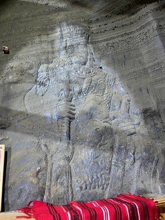 """King Stephen """" The Great """" - inside the chapel in Cacica Salt mine."""