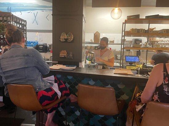 The Shuckery, open kitchen and bar, Petaluma downtown