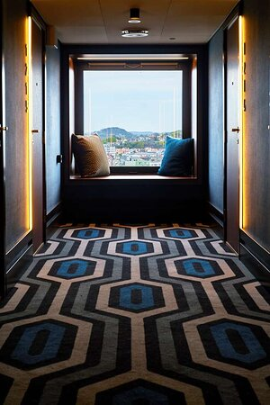 Hotel corridor with view