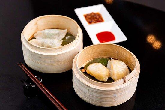 Prawn, chive and har kau dumplings