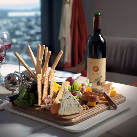Restaurant Food Cheeses and Wine