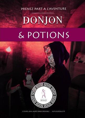 """Affiche de l'univers de jeu """"Donjon & Potions"""". Nouveauté 2021. Passez par un portail magique et entrez dans un univers médiéval fantastique. Vous deviendrez alors une équipe d'aventurier (elfe, nain, guerrier, mage, barde, voleur) partie en quête d'aventure..."""