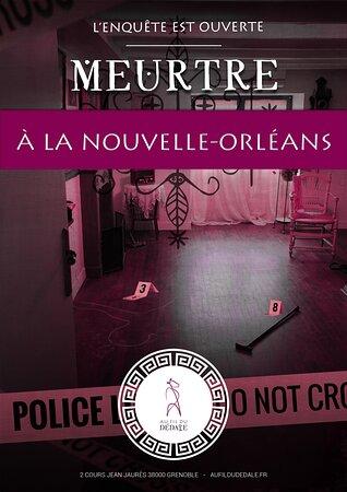"""Affiche de l'univers de jeu """"Meurtre à la Nouvelle Orléans"""". Vous aurez une heure pour résoudre l'enquête avant quelle n'échappe à votre juridiction et tombe dans les mains du FBI..."""