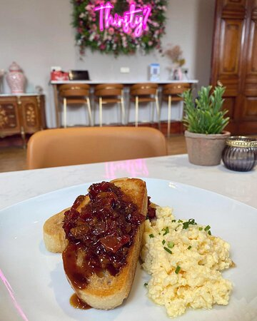 Counter's Home-Made Bacon Jam with Scrambled Eggs & Chives on Sourdough