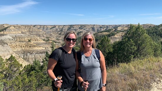 My wife and her friend on the hike