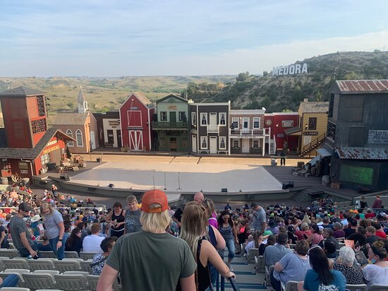 Entering the theater set as the town of Medora