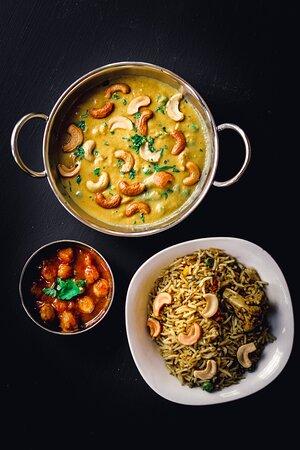 Traditionally Indian - Chana Masala, Biryani Rice & Cashew Vegetable Korma