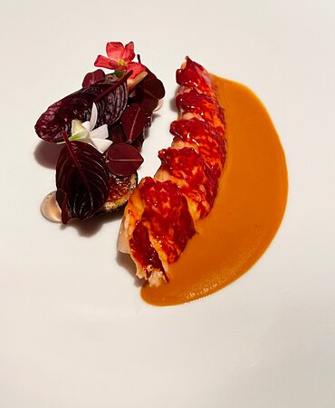 Lobster with a coconut-lobster bisque and figs