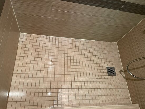 The shower where the drain is the highest point of the shower! 🙄