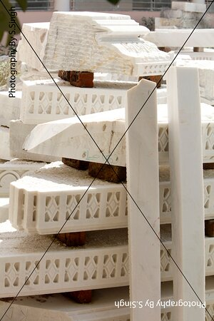 Stock of Carved  marble stone slabs for New construction of New Jain Temple on the same place where old Jain temple already stablished,   Jain Temple, Shri Mandavgarh Teerth , Mandu , M.P. India