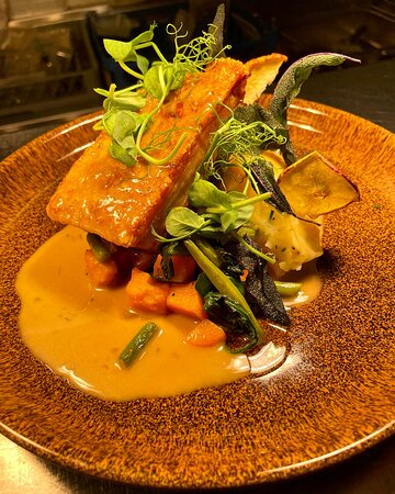 Pork Belly with a cider sauce dried apples and fried sage and sage, onion & pork stuffing
