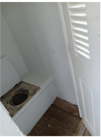 The Vintage Outhouse Toilet at the Light House, not in use.