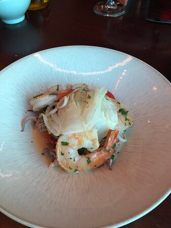 Sauteed calamari and prawns