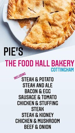 Tasty pies and more… www.Facebook.com/thefoodhallcottingham