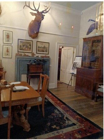 A peek inside of the Office for the Preservation of Edenton, NC, many vintage items on display.