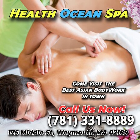 175 Middle St, Weymouth, MA 02189  781-331-8889  10:00 am - 9:00 pm  https://healthoceanspa.business.site  Health Ocean Spa is an Asian bodywork spa designed with Wonderful music and the elegance and beauty of the spa! Excellent facilities and high cleanliness. Our epidemic prevention work attaches great importance to safety, disinfection and sterilization. In a warm environment, high-quality service, excellent staff and perfect management. We have very good staff, every visit will be very exci
